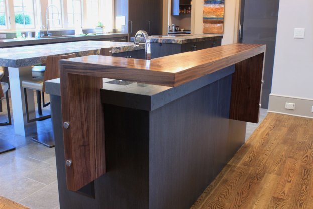 Walnut Raised Bar 3 San Diego - The Countertop Company